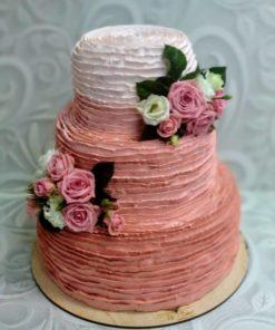 Свадебный торт с живыми цветами СВ8 фото