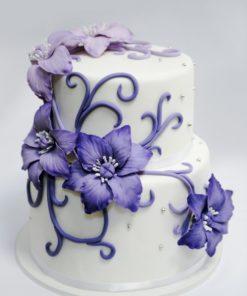 """Свадебный торт """"Фиолетовые цветы"""" СВ35 фото"""