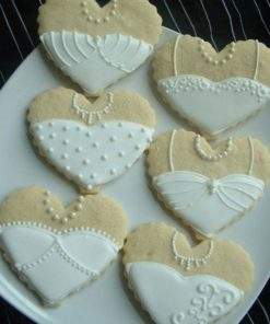 Свадебное печенье в форме сердечек СВ4 фото