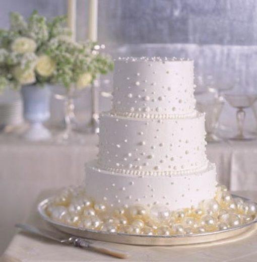 Трехъярусный свадебный белый торт СВ76 фото