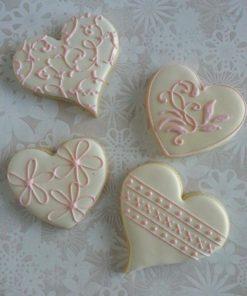 Свадебное печенье в виде сердечек СВ19 фото