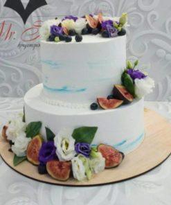 Свадебный торт с цветами и ягодами СВ6 фото