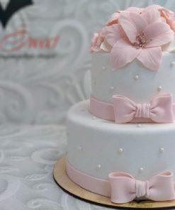 Свадебный торт с цветами из мастики СВ5 фото