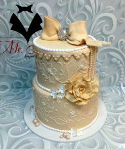Свадебный двухъярусный торт СВ42 фото