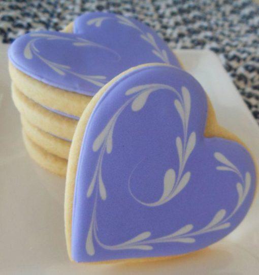 Свадебный пряник в виде синих сердечек СВ17 фото