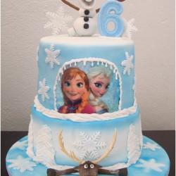 Frozen Cake With Olaf And Moose And Princess Edible Pr13int