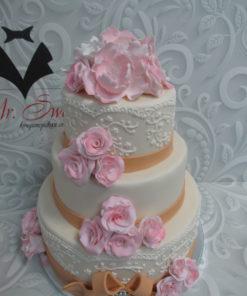 Свадебный торт с цветами из мастики СВ20 фото