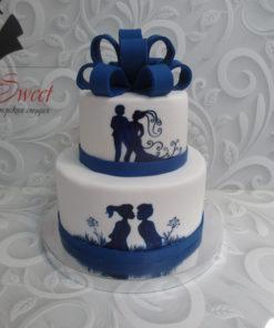Свадебный торт с разрисовкой СВ22 фото