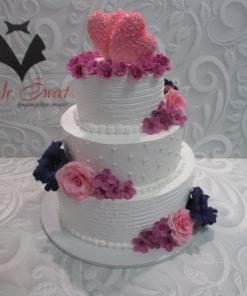 Свадебный торт с живыми цветами СВ19 фото