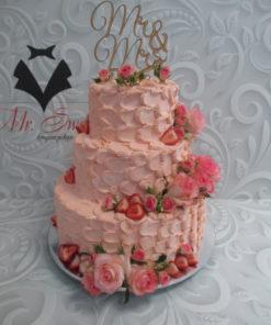 Свадебный торт с топпером и живыми цветами СВ18 фото