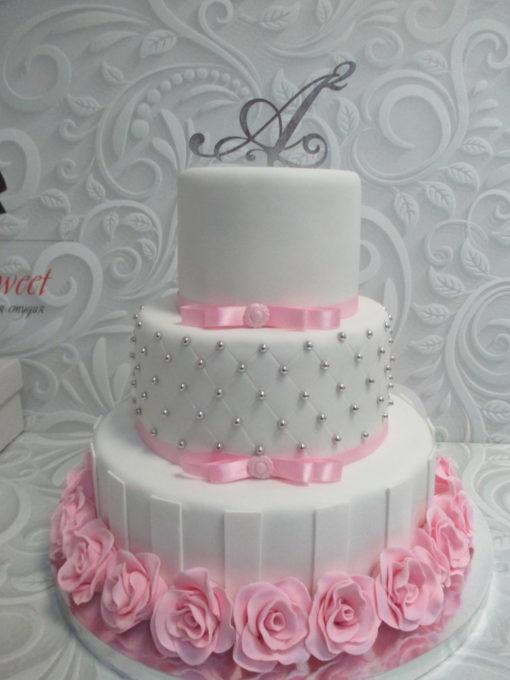 Свадебный торт с топпером СВ12 фото