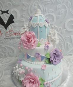 Свадебный торт с цветами из мастики СВ23 фото