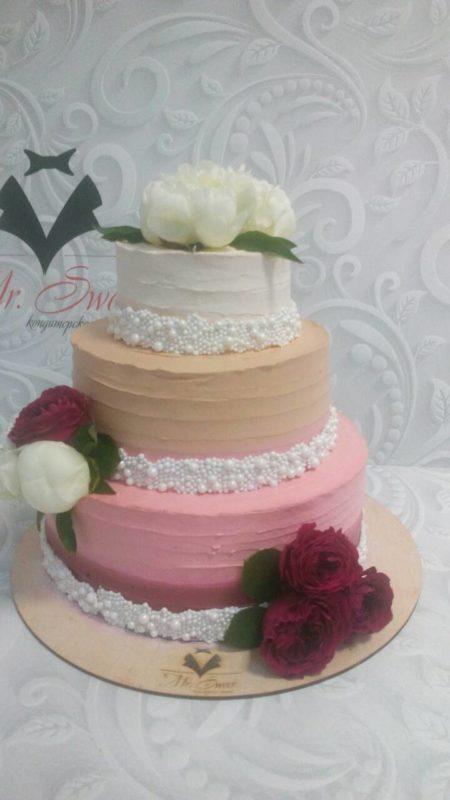 Свадебный торт с живыми цветами СВ2