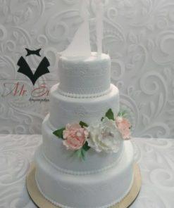 Свадебный торт с топпером и цветами из мастики СВ4 фото