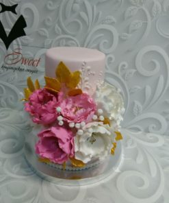 Свадебный торт с пионами из мастики СВ24 фото