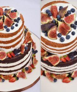Открытый двухъярусный торт без мастики БМ6 фото