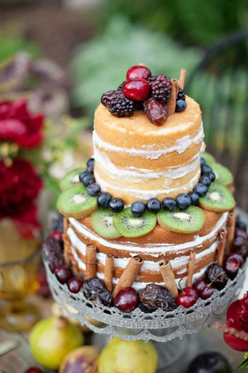 Голый двухъярусный торт без мастики БМ13 фото
