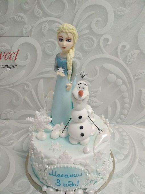 Новогодний торт Эльза и снеговик НТ4 фото